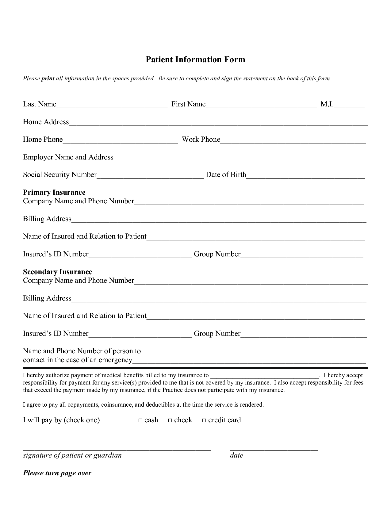template for patient information sheet - free personal information forms patient information form