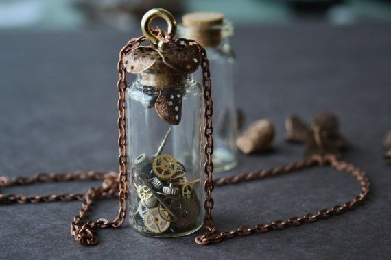 Glass vial necklace steampunk necklace by WildRoseAndSparrow, $22.00