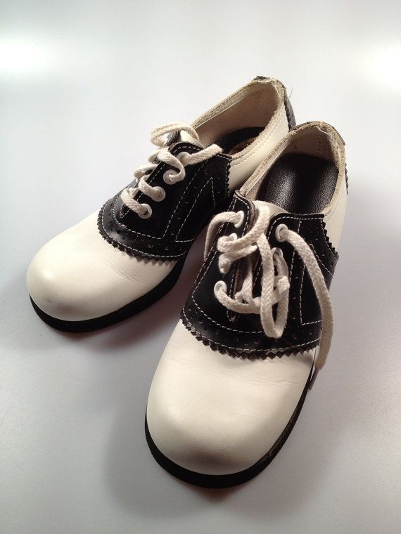 Black For And Vintage Little Shoes Genuine White Saddle Girls 1970s tY6q4w