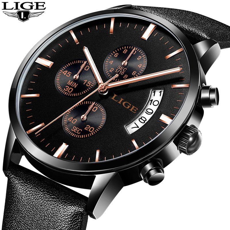 Reloj Hombre 2017 LIGE Fashion Chronograph Sport Mens Watches Top Brand  Luxury Military Quartz Watch Clock eb1c6c9afa9f