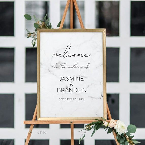 Modern Marble Printable Wedding Welcome Sign Template, Personalized Welcome Sign,Custom Sign,Editable Template Instant Download #E038