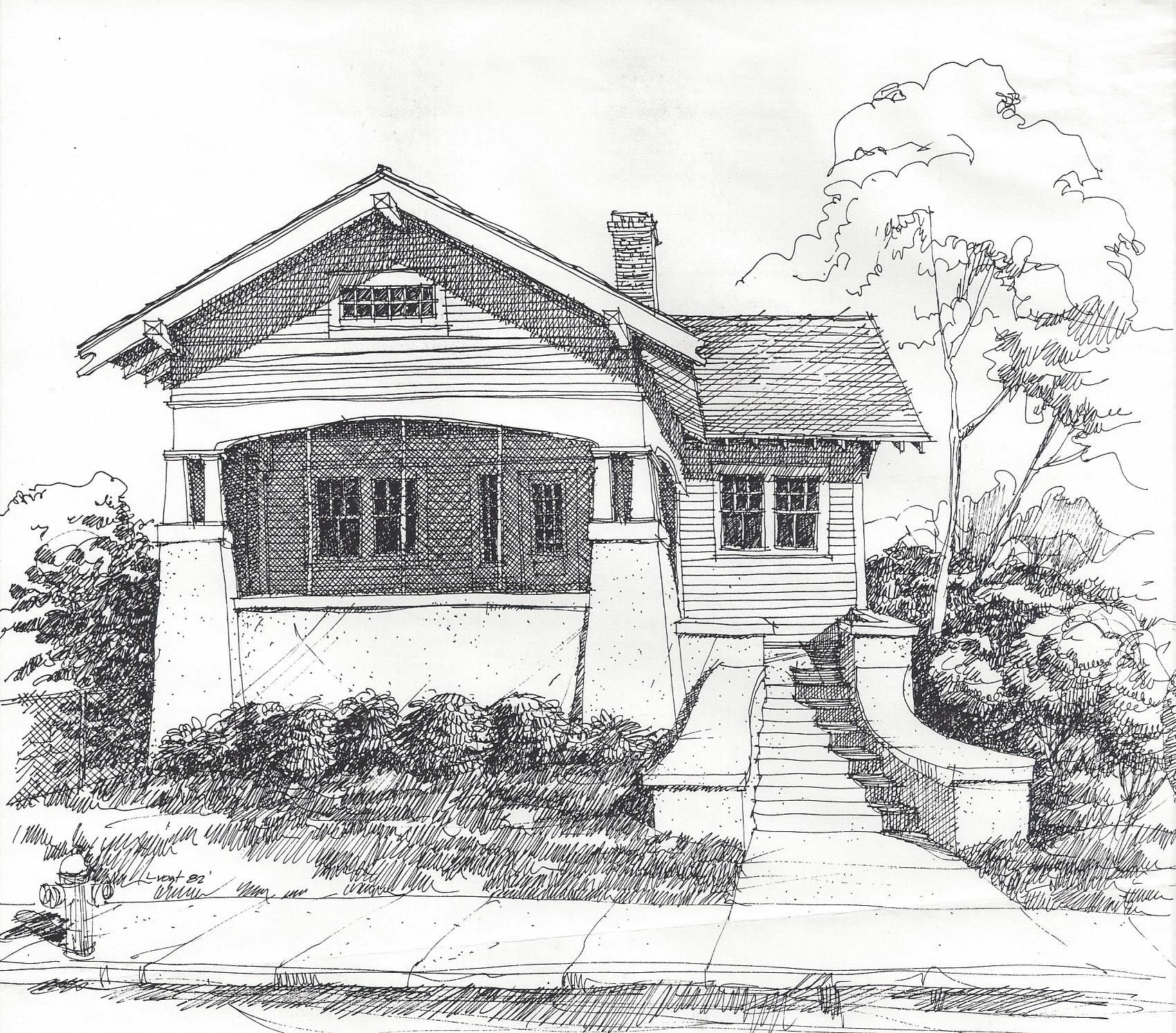 bungalow House sketch, House drawing, Simple house drawing