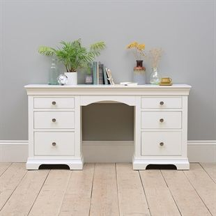 Chantilly White Double Pedestal Dressing Table 399