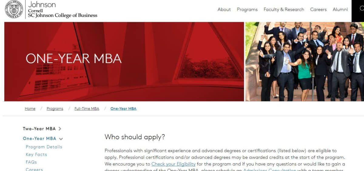 Cornell University Sc Johnson College Of Business 1 Year Mba In 2020 Reviews Features Pricing Comparison Pat Research B2b Reviews Buying Guides Bes Mba Harvard Business School Online Mba