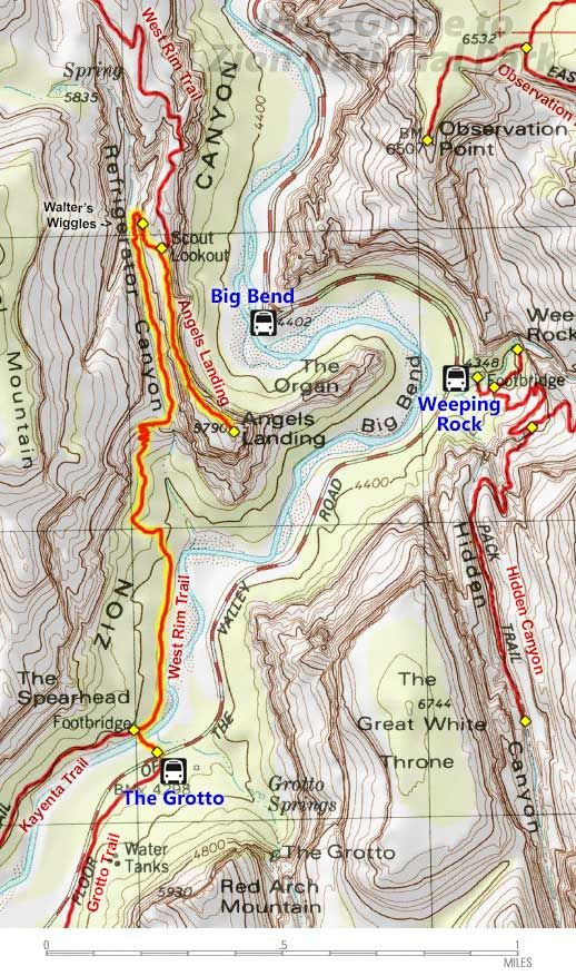Angels Landing Topo Map | Zion & Bryce Canyon Nat'l Park (Utah) in on
