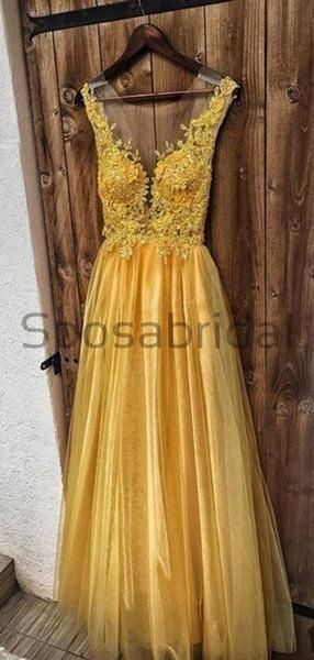 A-line Yellow Gold Unique Tulle Formal Long Modest Prom Dresses with appliques PD1758 #modestprom