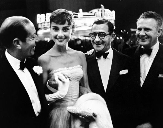 Audrey Hepburn with Cole Porter, Irving Berlin and Don Hartman in New York, 1954, photo by Phil Stern