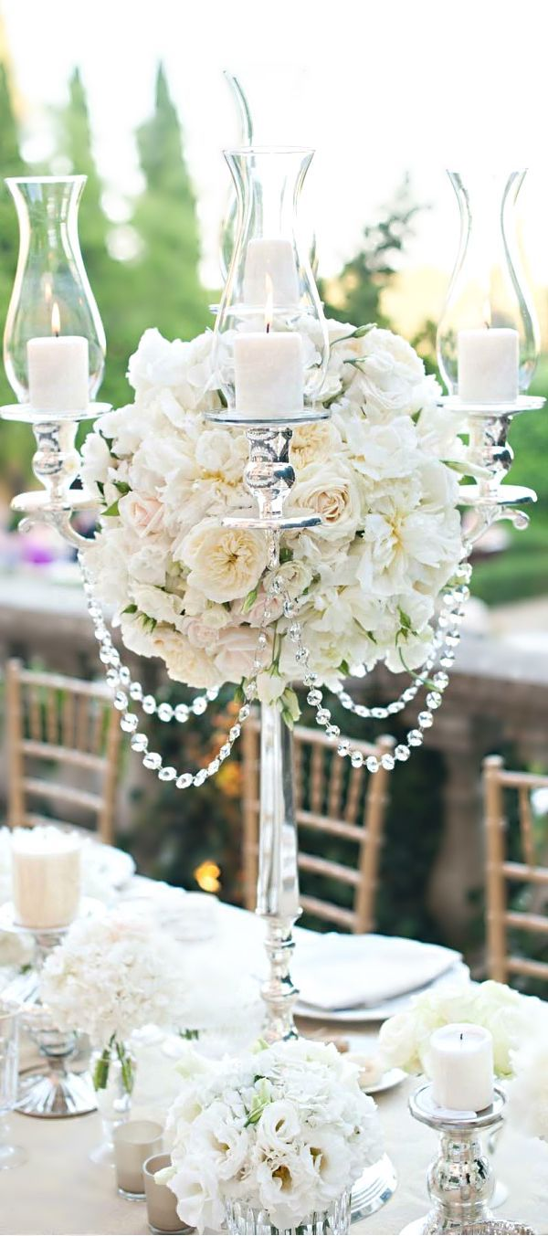Roses, silver and crystal Centerpiece | Wedding Decor | Pinterest ...