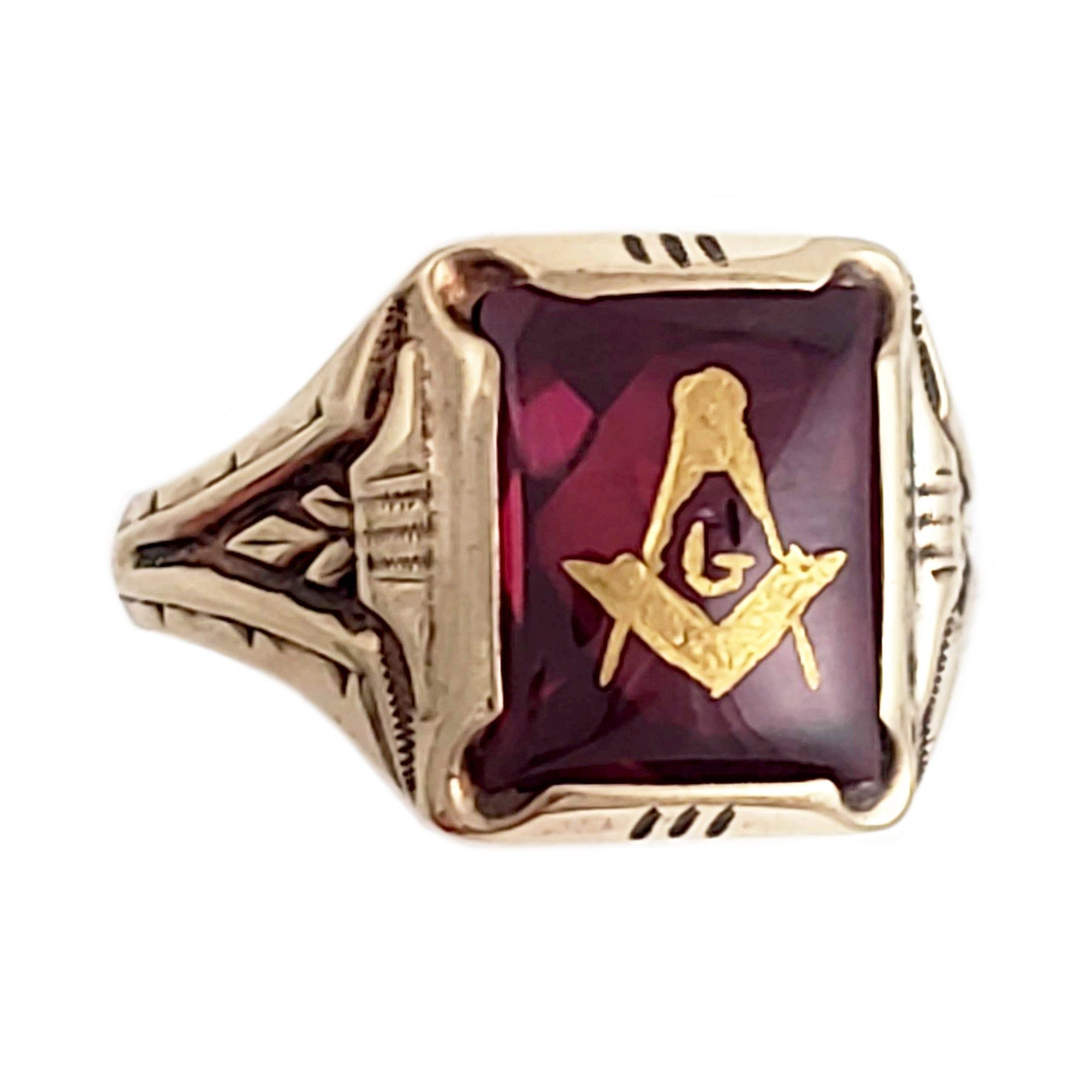 Vintage O B 10k Gold Masonic Ring With Synthetic Ruby Size 10 25 Masonic Ring Synthetic Ruby 10k Gold