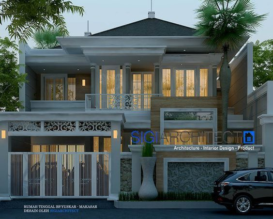 rumah klasik modern 2 lantai, desain rumah 2 lantai dengan