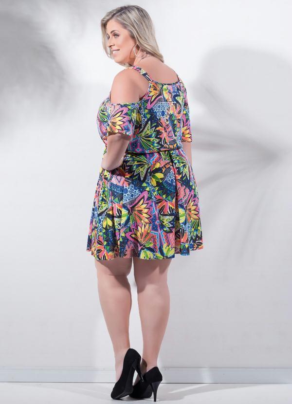 Vestido Curto Casual Plus Size Ciganinha Preto Promoção