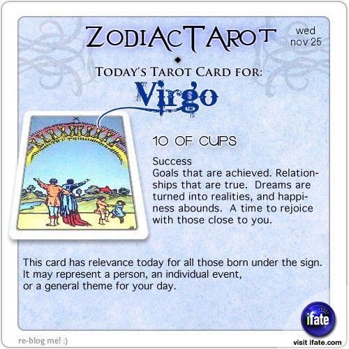 Zodiac Tarot for November 25: Virgo <br>  http://ifate.com