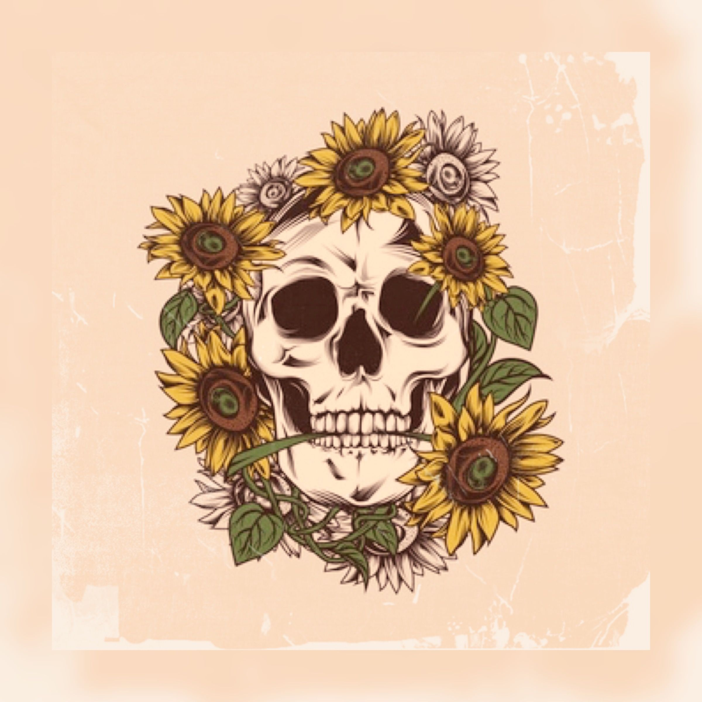 Sunflowers And Skull Wallpaper Grunge Cute Sunflower Art Print Skull Art Drawings