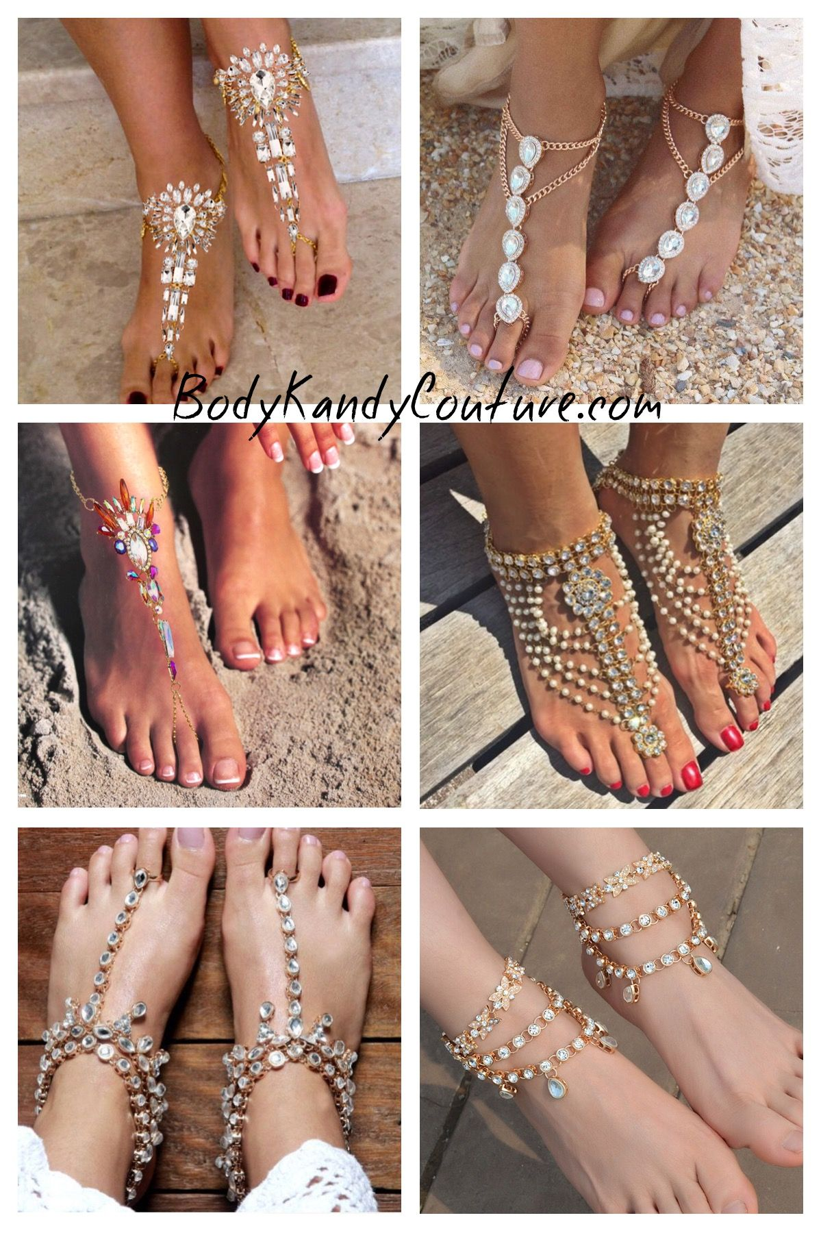 Body Kandy Couture Beach Wedding Shoes Bare Foot Sandals Beach
