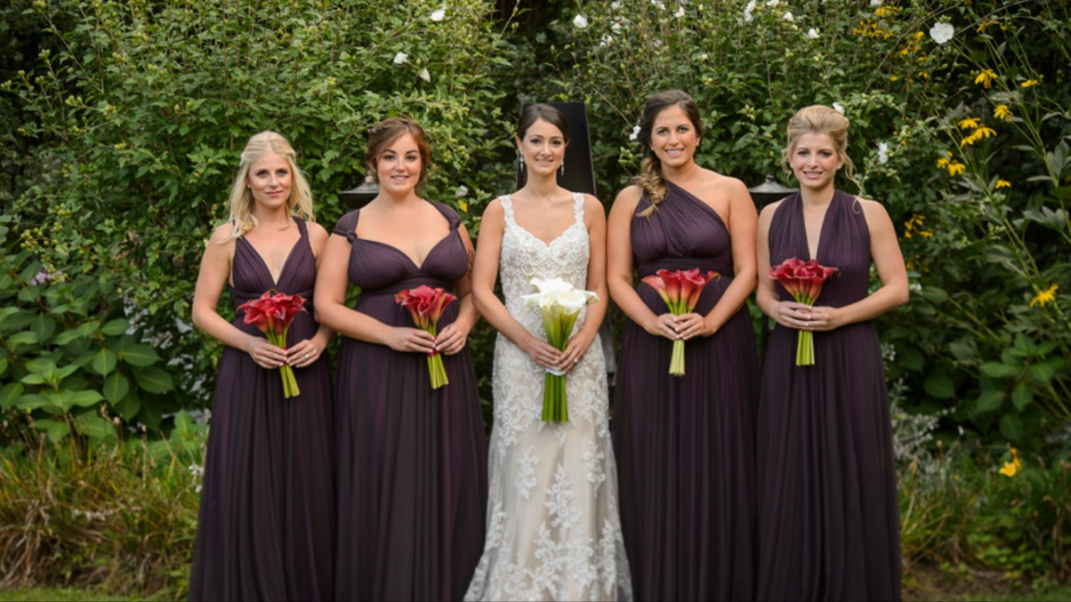 Plum tulle purple twobirds bridesmaid dresses a real wedding plum tulle purple twobirds bridesmaid dresses a real wedding featuring our multi way ombrellifo Choice Image