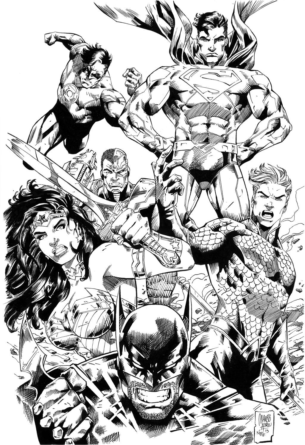 Justice League Comic Colouring Page Drawing Superheroes Comic Art Dc Comics Art