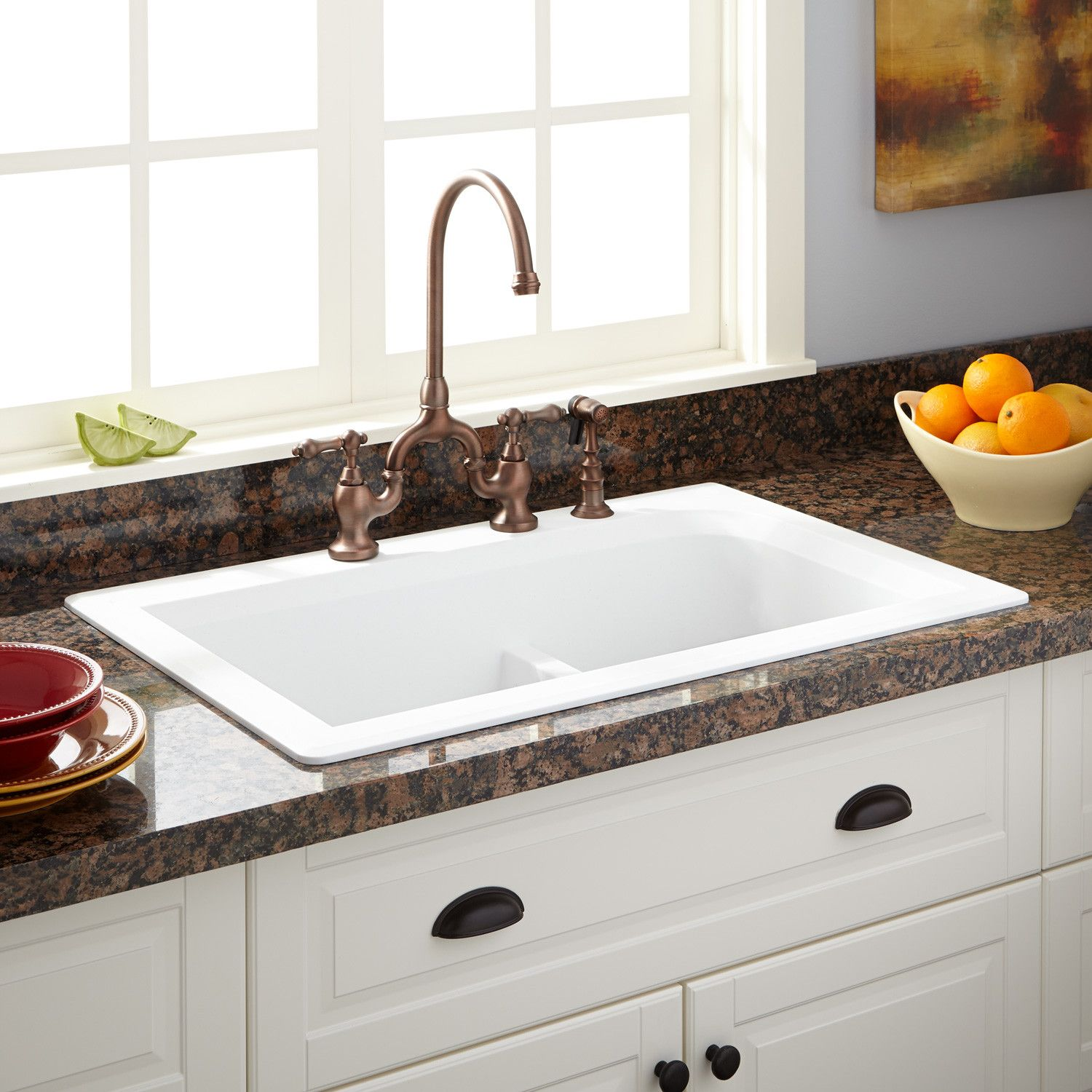 33 Fayette Double Bowl Drop In Granite Composite Sink Eggshell