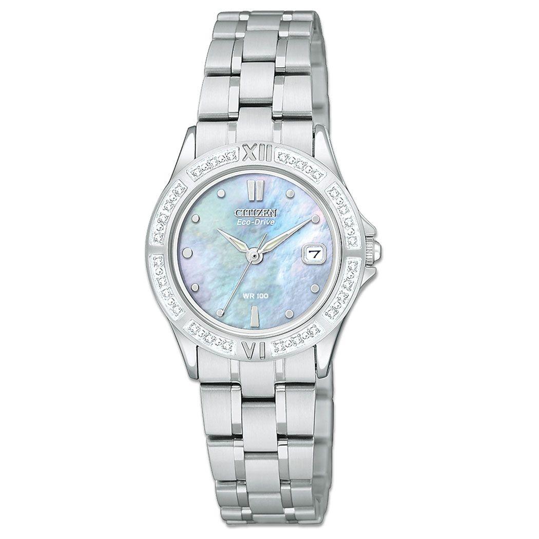 Citizen Eco Drive Ladies Elektra Diamond Stainless Steel Watch Womens Watches Citizen Eco Drive Ladies Jewelry Warehouse