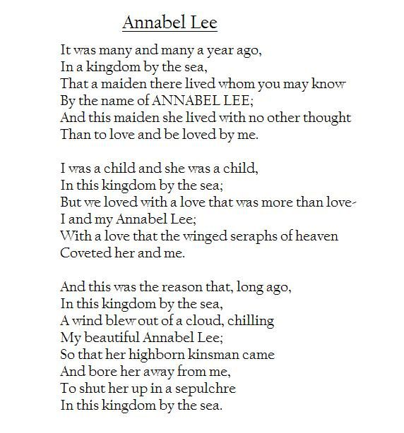 the theme of love in edgar allan poes annabel lee Annabel lee - edgar allan poe 1849 annabel lee  i love you dearly and miss you so much your spiritsister wendy ´`'°☆ •♪♫♥(:.