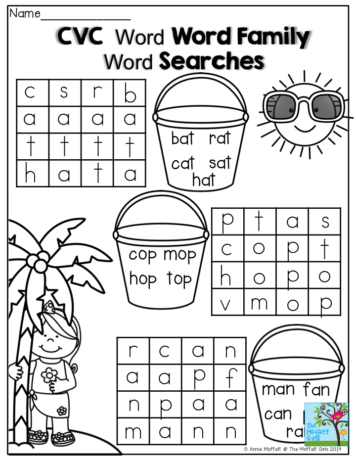 Free Worksheets segmenting worksheets : CVC Word Searches- These are a great way to get beginning ...