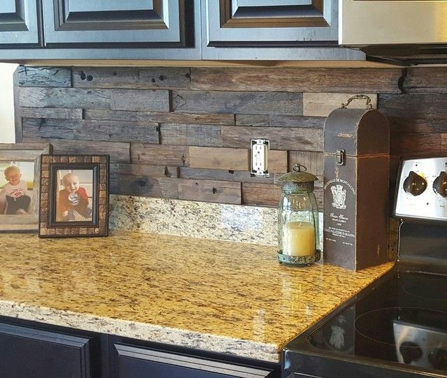 we love this reclaimed wood architectural wall tile backsplash