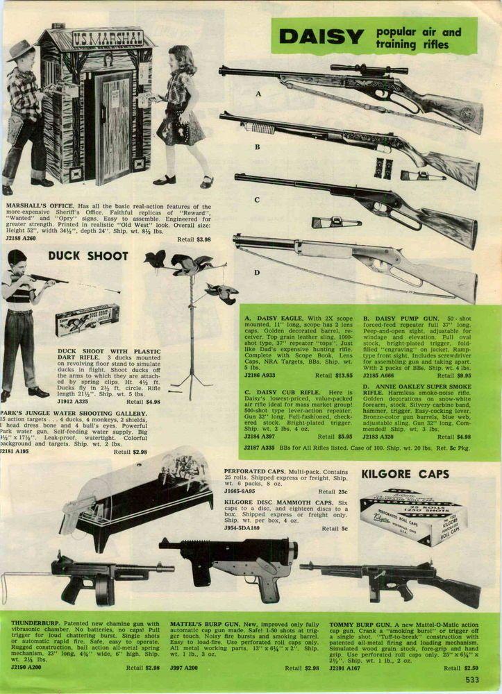bf75c9a6c51 1958 Ad Daisy Air Rifles Eagle 50 Shot Pump BB Gun Annie Oakley Super Smoke
