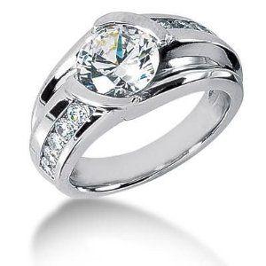 Men s Diamond Ring 1 Round Stone 2.50 ct 2 Round Stone 0.06 ct 6 Round Stone 0.05 ct 2 Round Stone 0.02 ct Total 2.96 ctw 162-MDR1335 - Size 12 - http://finejewelrygalleria.com/jewelry/mens-jewelry/men-s-diamond-ring-1-round-stone-250-ct-2-round-stone-006-ct-6-round-stone-005-ct-2-round-stone-002-ct-total-296-ctw-162mdr1335-size-12-com/