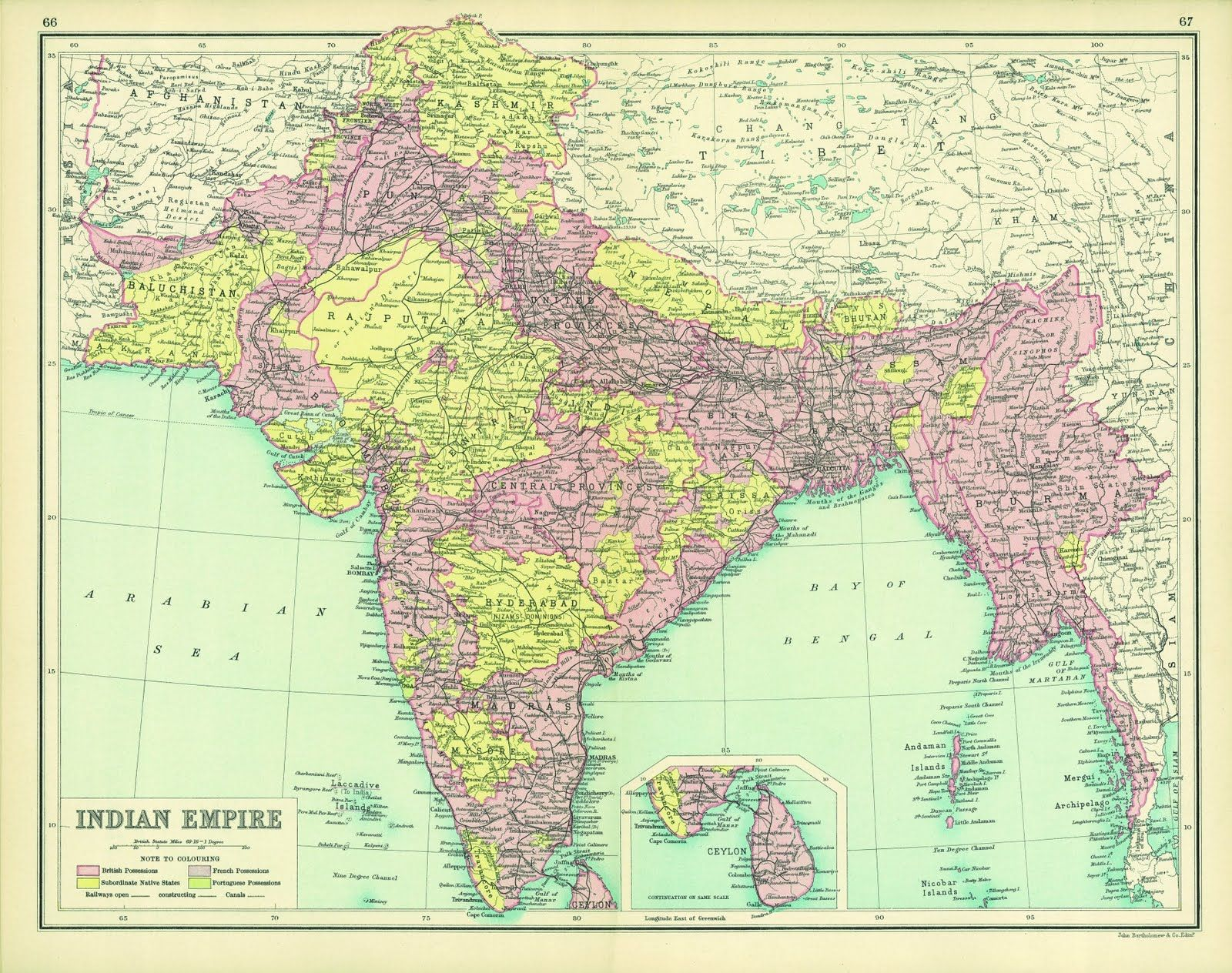 Indian Empire 1914 Map, Historical maps, India map