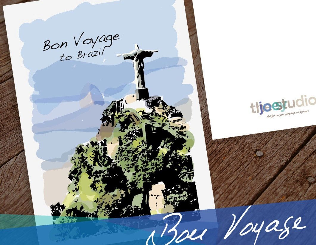 Brazil travel greeting card greeting card bon voyage to rio de brazil travel greeting card greeting card bon voyage to rio de janeiro brazil card blank inside with white envelope kristyandbryce Image collections