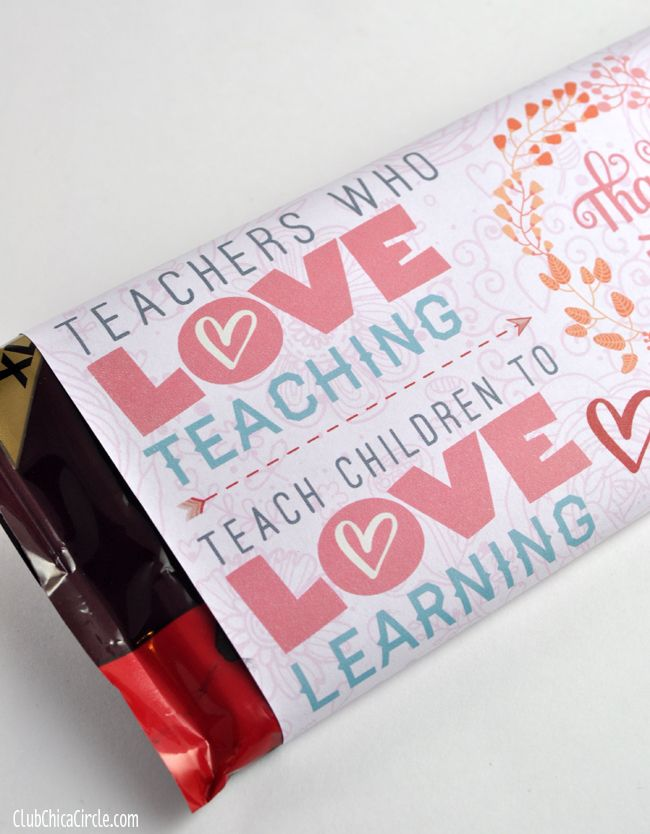 Teacher Appreciation Valentines Day Chocolate Bar Free Printable