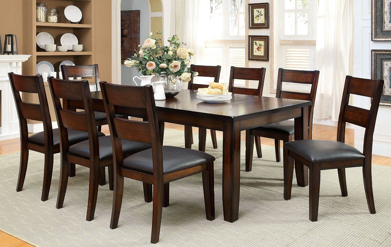 9 Piece Transitional Dining Room Furniture Set Dark Cherry For 8 People Dining Room Furniture Sets Solid Wood Dining Set Dining Room Sets Bold Dining Table