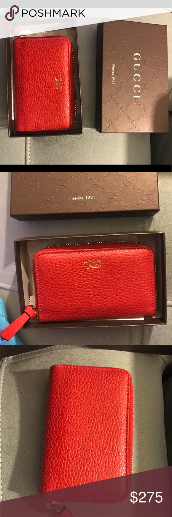 54f309a0895 NIB Authentic Gucci red key case zip wallet New Gucci red small wallet zip  around... beautiful dollar calf leather... gold accents... multi slots...  cavier ...