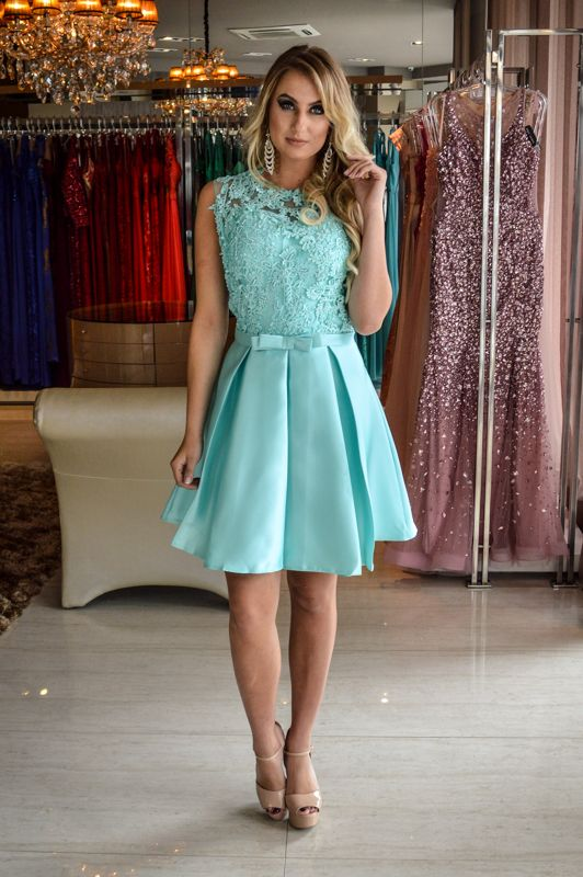 Vestido Curto Verde Saia Justa Moda Festa Vestidos E