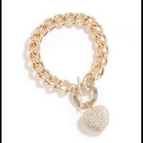 GUESS náramok Gold-Tone Rhinestone Heart Bracelet  444d073ddb0