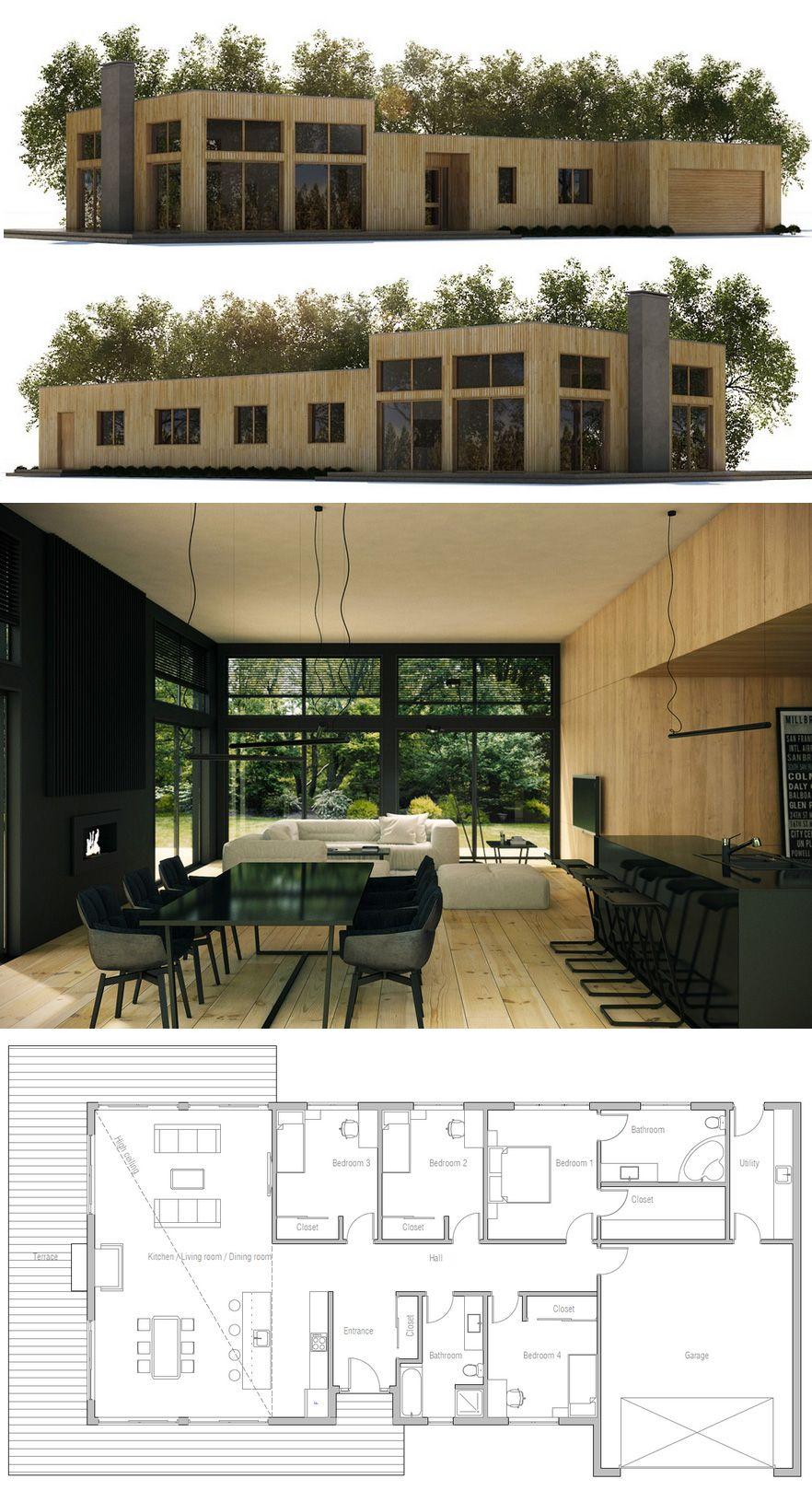 Plan de Maison   Homes   Pinterest   Salon cocina, Plantilla de casa ...