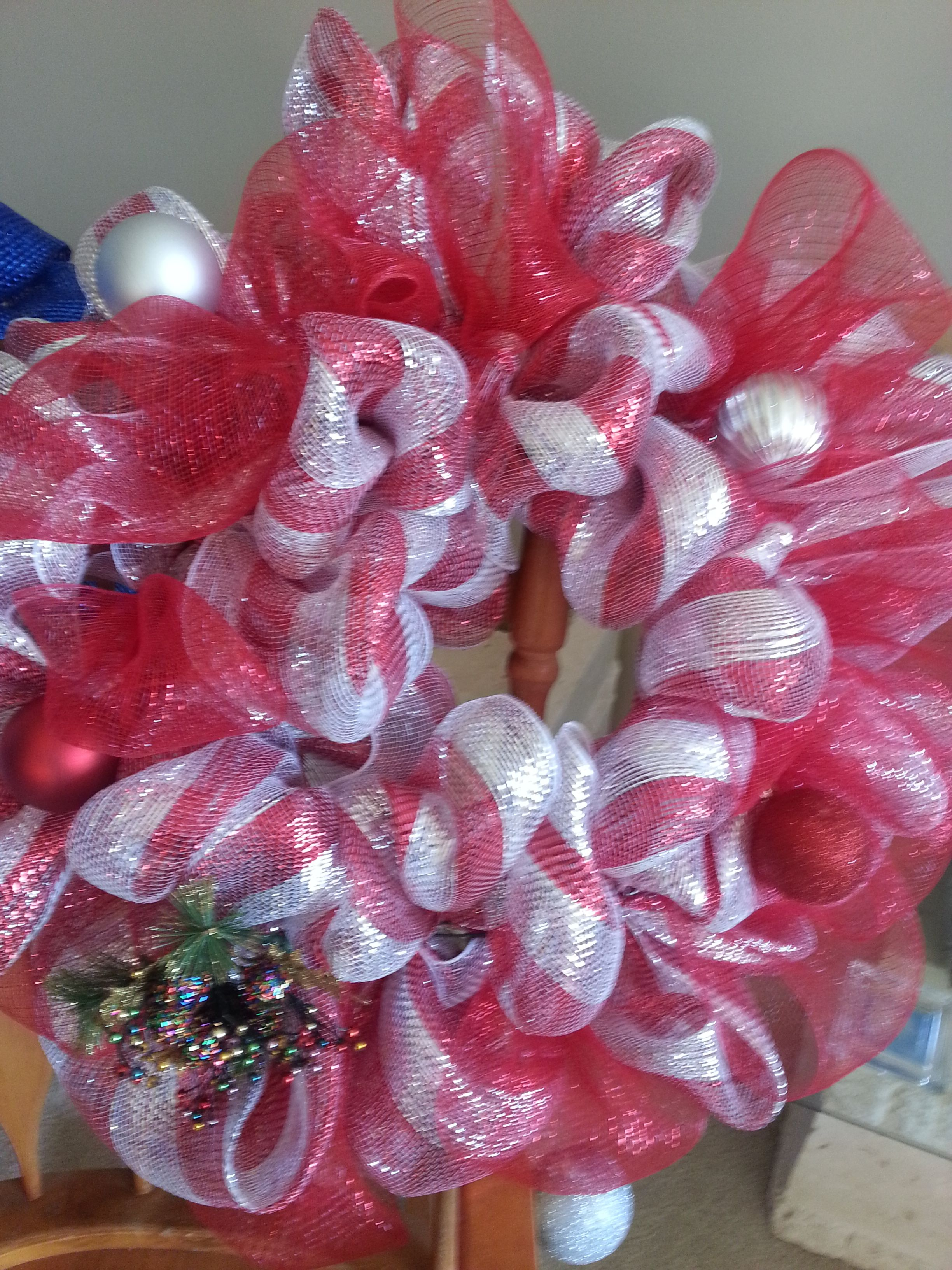 Red and White striped with red geo mesh Christmas Wreath