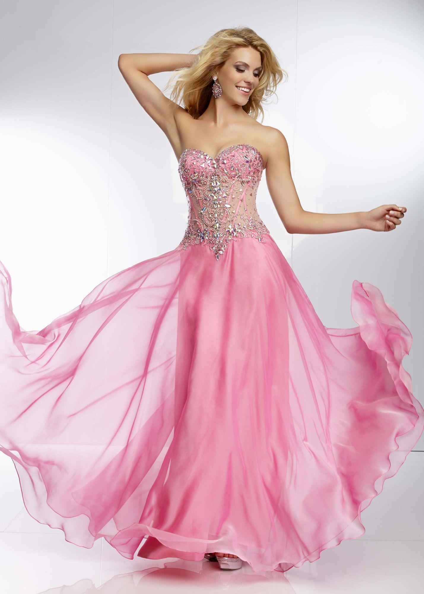 Mori Lee 95070 - Candy Pink Beaded Chiffon Prom Dresses Online #thepromdresses
