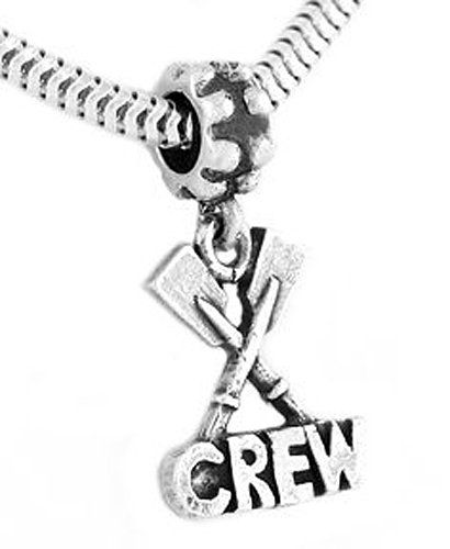 Sterling Silver One Sided Paddle Rowing Crew Dangle Bead Charm For