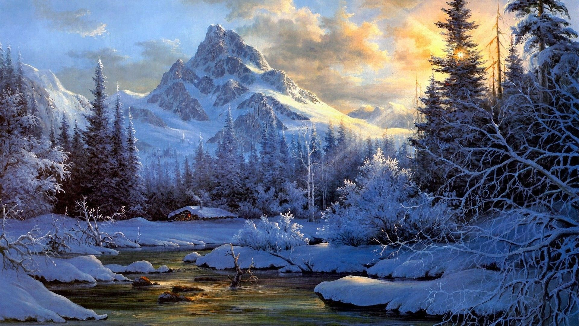 Winter Paintings With Snow 1498798 Mountain Landscape Painting Landscape Paintings Oil Painting Landscape