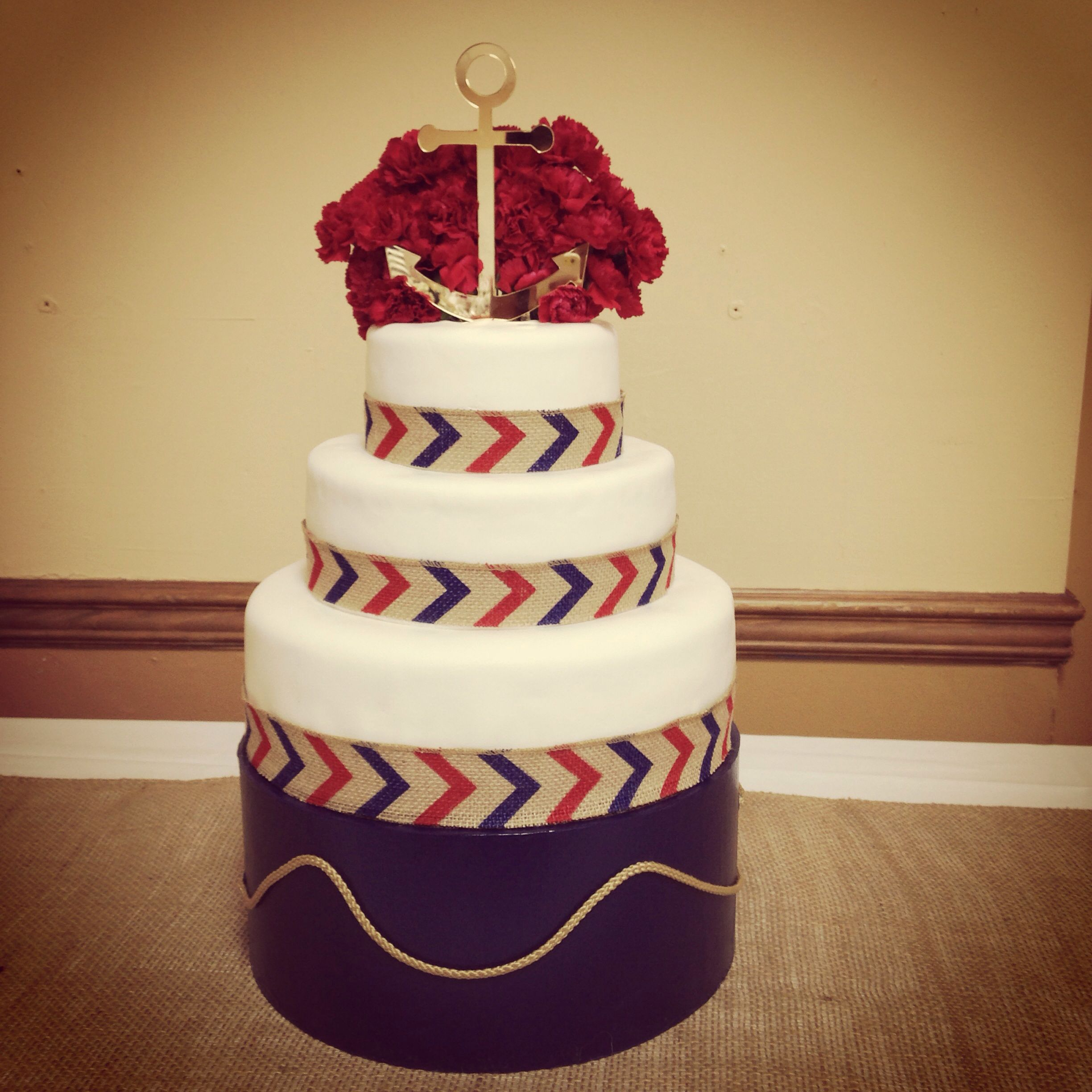 Nautical sailor jerry theme cake butter rum red white and blue ...