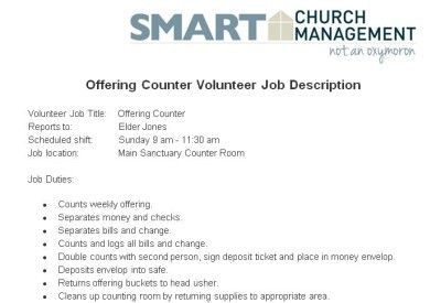 Church Offering Counter Volunteer Job Description  Church