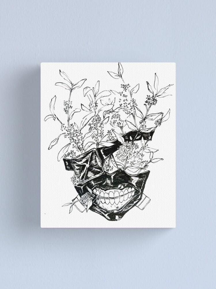 "Photo of Tokyo Ghoul Canvas Kaneki Ken Flower Mask Christmas Anime Gift For Fans – 24 x 36"""