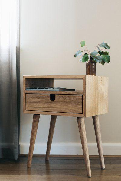 Retro Style Container Bedside Table: Mid Century Modern Bedside - Tasmanian Oak