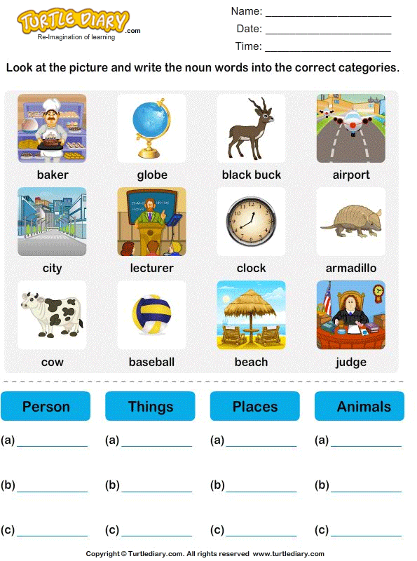 sort nouns as person place animal or thing 3 worksheets with answers test nouns. Black Bedroom Furniture Sets. Home Design Ideas