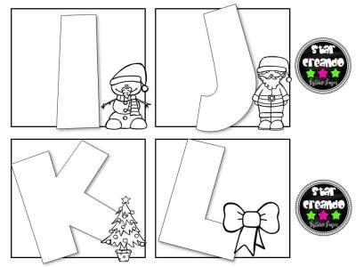 Abecedario para colorear motivos navideños (3) Magyar nyelv