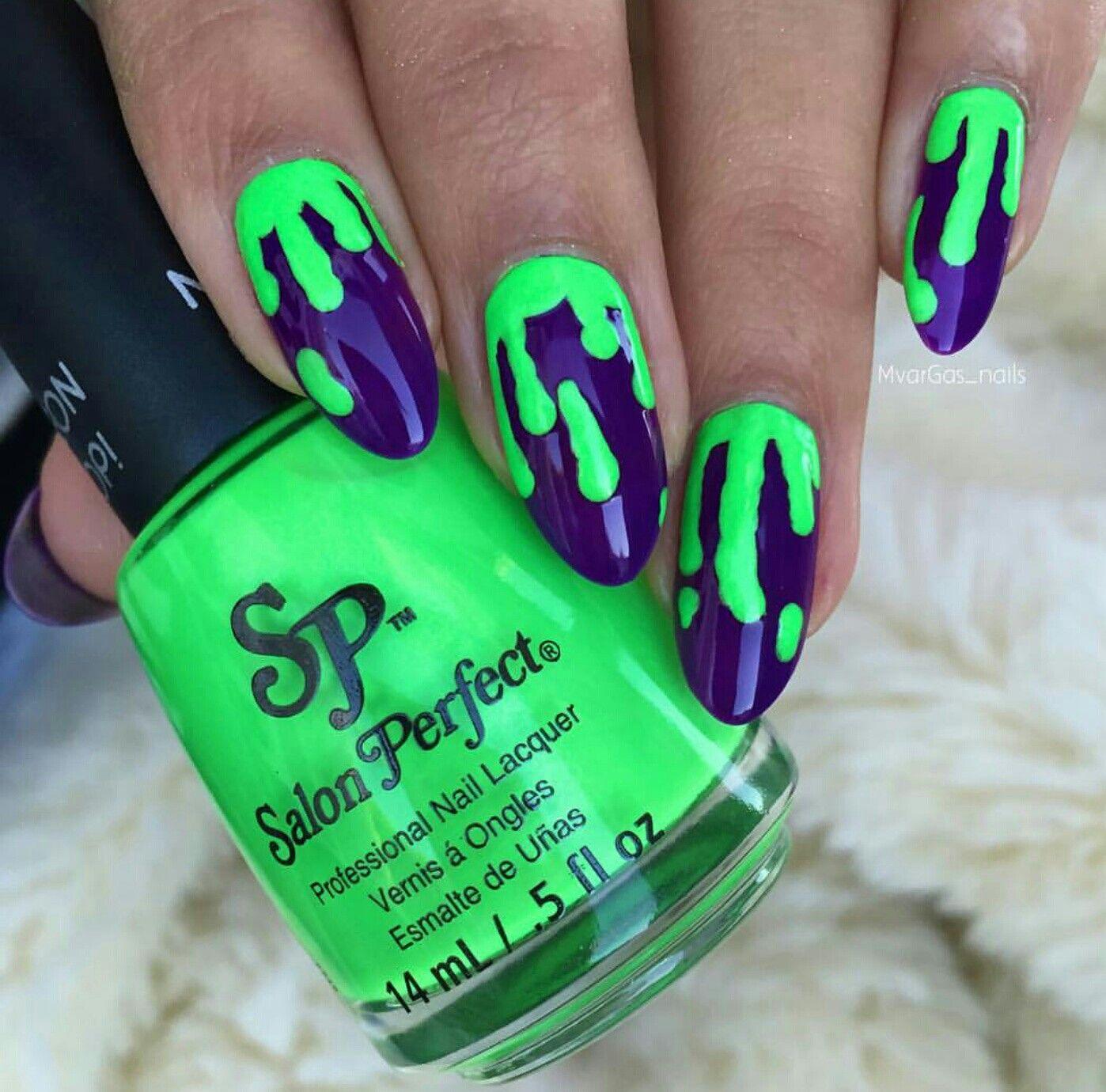 Hot Mani Neon Green Paint Drip Nail Art Using Salon Perfect Neon