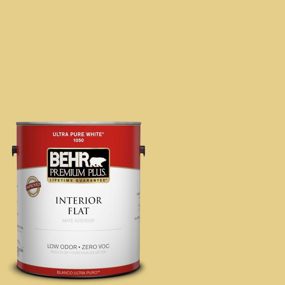 BEHR Premium Plus 1-gal. #T12-6 Lol Yellow Zero VOC Flat Interior Paint