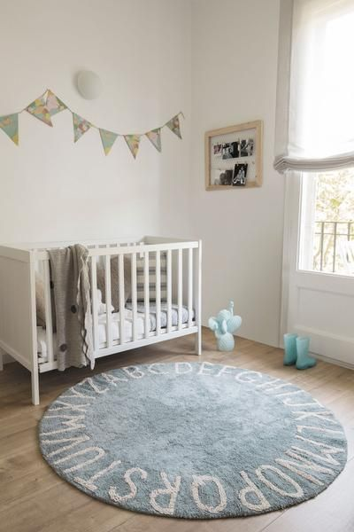 Abc Round Washable Rug Vintage Blue Baby Boy Mcgarry Nursery
