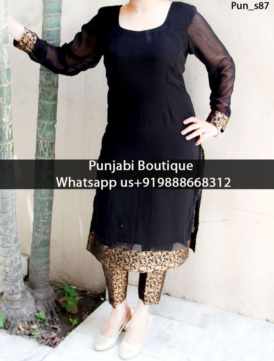 4229daff2b Black Georgette Kurti With Brocade Trouser Product Code: Pun_s87 To order  this dress , please call or WhatsApp us at +919888668312 or directly  message us on ...