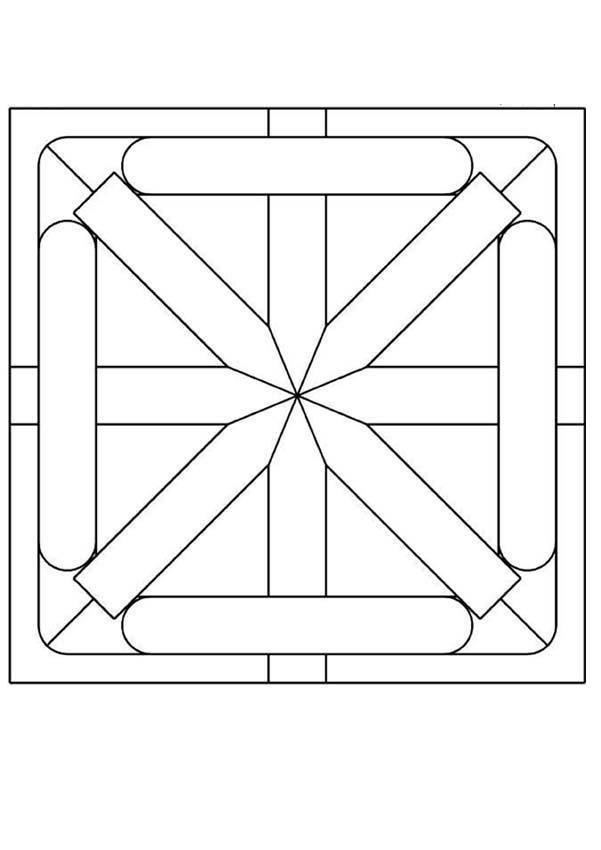 Mandala carré simple à colorier ou décorer avec des dessins, des